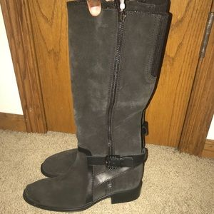 Aquatalia Aliana Womens Black Suede Tall Knee High Boots Riding Boots Sz 8.5